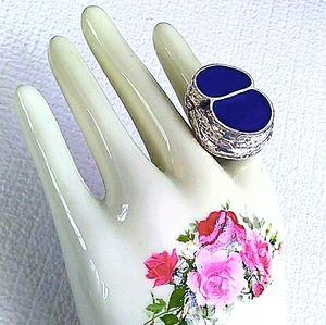 RARE HATTIE CARNEGIE Abstract Blue Inlay Adj.Ring